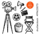 cinema and making films hand... | Shutterstock .eps vector #499623073