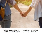 couple holding hand in the park ... | Shutterstock . vector #499626199