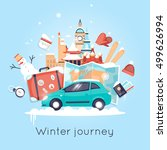travel by car russia  usa ... | Shutterstock .eps vector #499626994
