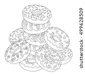 vector hand drawn donuts... | Shutterstock .eps vector #499628509