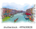 venice   grand canal. the view... | Shutterstock . vector #499630828
