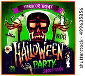 halloween party design template ... | Shutterstock . vector #499635856