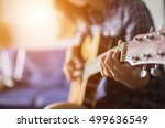 close up of young hipster woman ... | Shutterstock . vector #499636549