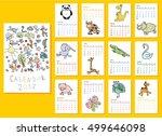 calendar 2017. cute doodle... | Shutterstock .eps vector #499646098