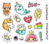colorful vector patch badges... | Shutterstock .eps vector #499649074