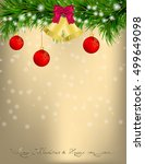 golden christmas and new year... | Shutterstock .eps vector #499649098