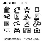 vector black line justice icons ... | Shutterstock .eps vector #499652233