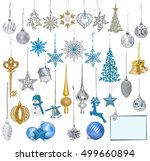 big set of christmas baubles... | Shutterstock . vector #499660894