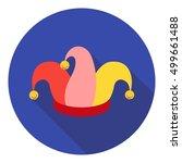 Jester's Cap Icon In Flat Styl...