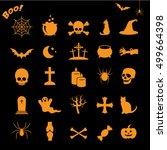 halloween icon set isolated on... | Shutterstock .eps vector #499664398