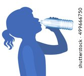 little girl drink water.... | Shutterstock .eps vector #499666750