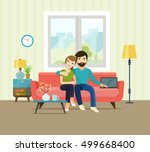 smiling romantic couple at home ... | Shutterstock .eps vector #499668400