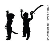 child with sword set silhouette ... | Shutterstock .eps vector #499674814