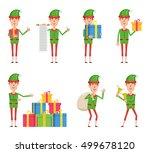 set of christmas elf characters ... | Shutterstock .eps vector #499678120