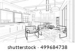 kitchen  living room  interior  ... | Shutterstock . vector #499684738