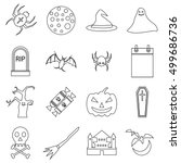 haloween icons set. outline...