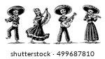 day of the dead. the skeleton... | Shutterstock .eps vector #499687810