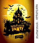 halloween background with... | Shutterstock .eps vector #499691494