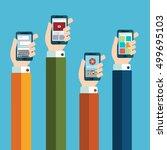 mobile application concept....   Shutterstock .eps vector #499695103