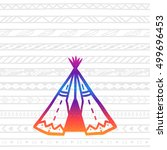 bright outline of wigwam on... | Shutterstock . vector #499696453