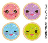 kawaii frosted sugar cookies ... | Shutterstock .eps vector #499698763