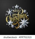 "calligraphic ""merry christmas""... | Shutterstock .eps vector #499701313"