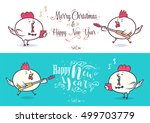 happy new year and merry... | Shutterstock .eps vector #499703779
