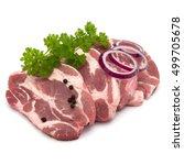 Raw Pork Neck Chop Meat With...