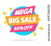 sale banner with sign mega big... | Shutterstock .eps vector #499706050