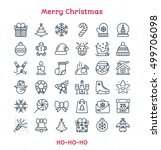 merry christmas line icons set...