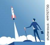businessman launches rocket... | Shutterstock .eps vector #499707730