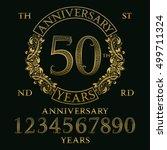 anniversary sign kit. golden... | Shutterstock .eps vector #499711324