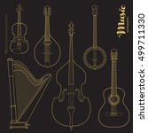 vector string music instruments.... | Shutterstock .eps vector #499711330