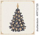 christmas tree. vintage...   Shutterstock .eps vector #499711720