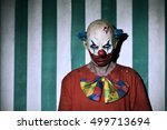 closeup of a scary evil clown... | Shutterstock . vector #499713694