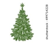 christmas tree  detailed... | Shutterstock .eps vector #499714228