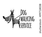 Stock vector dog walking service logotype on white background isolated scribble style logo template 499718038