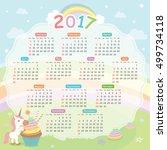 2017 twelve month calendar of... | Shutterstock .eps vector #499734118