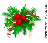 vector christmas holly with... | Shutterstock .eps vector #499737430