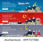 merry christmas banners in flat ... | Shutterstock .eps vector #499737580