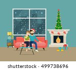couple at home sitting on sofa. ...   Shutterstock .eps vector #499738696