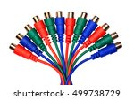 Bunch of red green blue audio video RCA connectors and cables, isolated on white background - stock photo