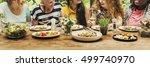 women communication dinner... | Shutterstock . vector #499740970