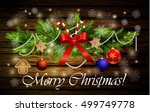 christmas decoration with candy ... | Shutterstock .eps vector #499749778