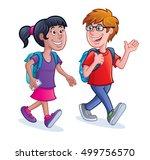 school kids walking with... | Shutterstock .eps vector #499756570