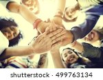 college students teamwork... | Shutterstock . vector #499763134