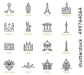 moscow  london  paris  istanbul ... | Shutterstock .eps vector #499764064