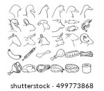 simple set of meat and animal... | Shutterstock .eps vector #499773868