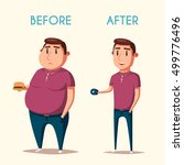 man before and after sports.... | Shutterstock . vector #499776496