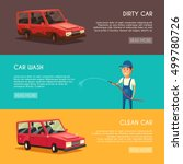 car washing service. cartoon... | Shutterstock . vector #499780726